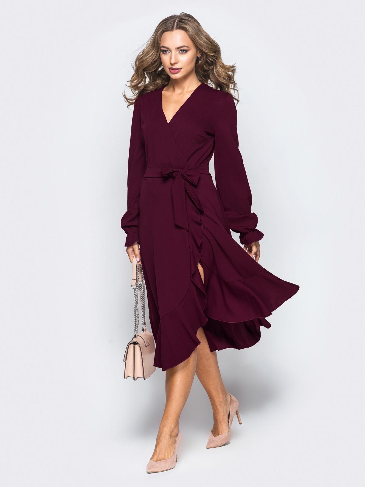 бордовое платье из крепа