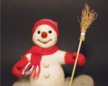 Снеговик валяние из шерсти