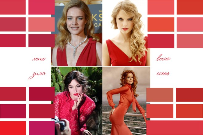 Оттенки красного и тип внешности.