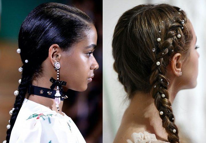 Жемчижины в волосах.