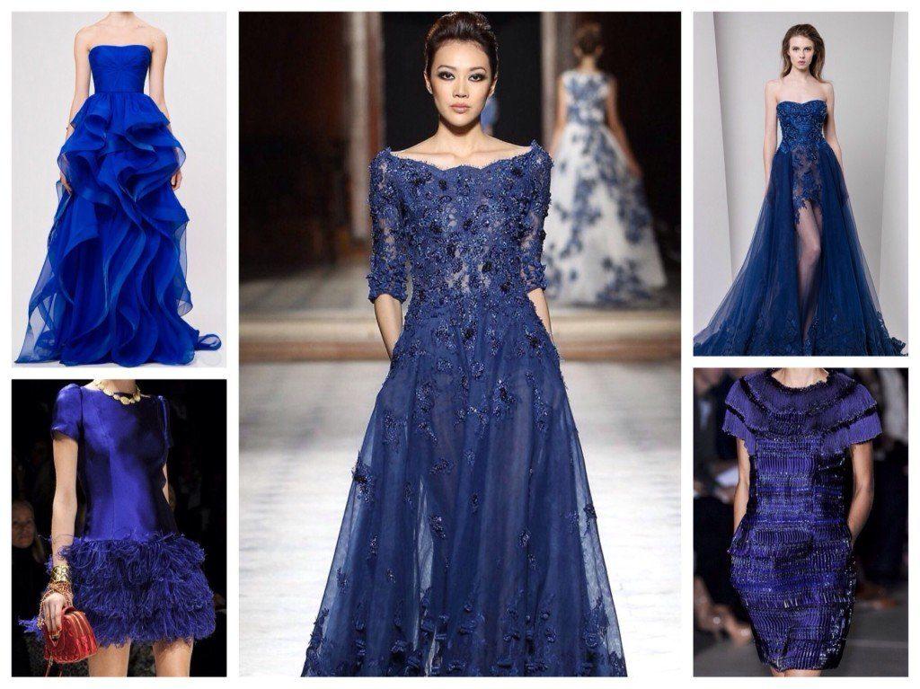 Подиумные синие платья.