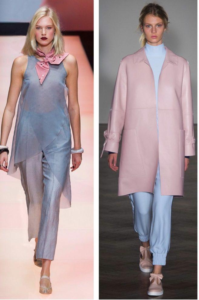 Сочетание разных пудровых оттенков в одежде.