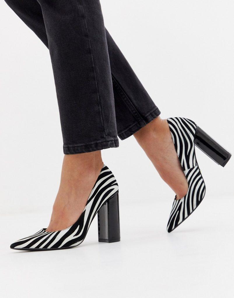 Туфли с окраской под зебру.
