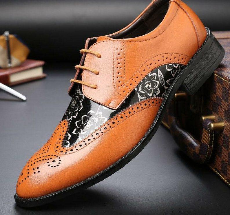 Мужские туфли с принтованными деталями.