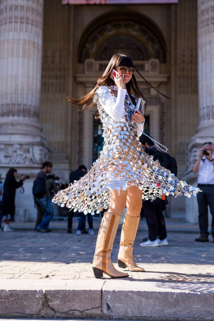 платье А-силуэта с пайетками