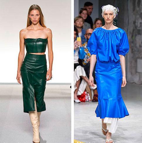 Зелёная и синяя кожаные юбки.