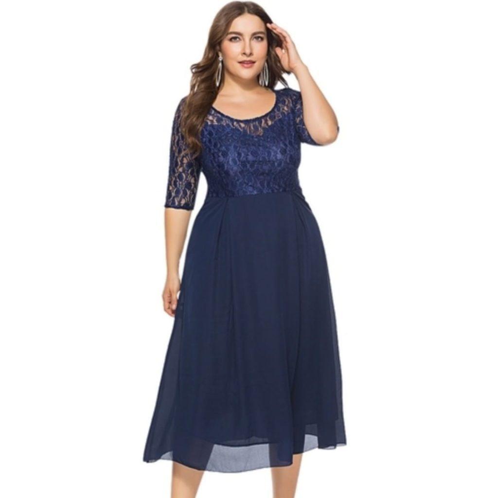 Тёмно-синее платье.