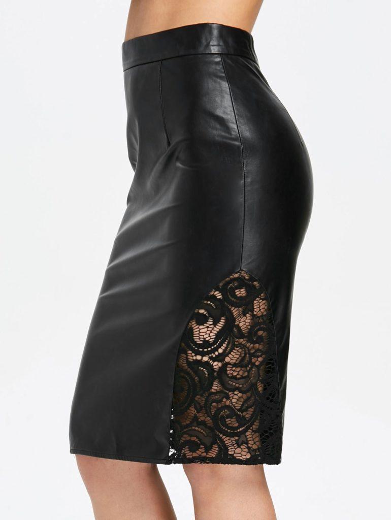 Кожаная юбка с кружевной вставкой.