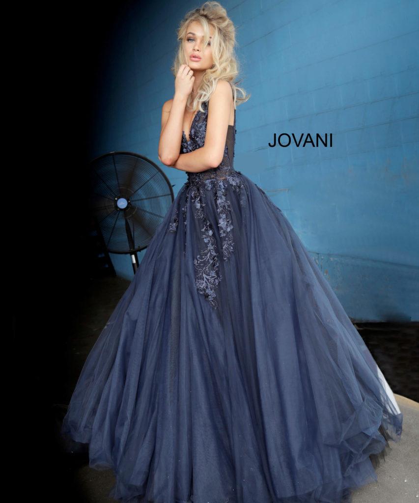 Тёмно-синее платье для выпускного.