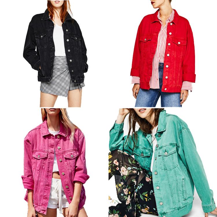 Цветные джинсовые куртки.