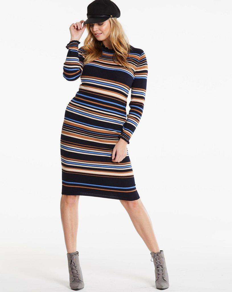 Платье в полоску.