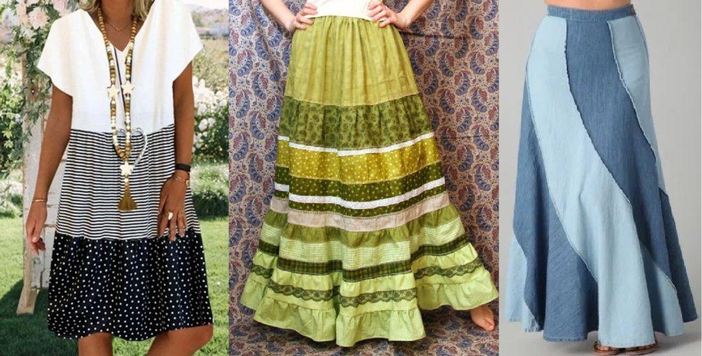 Бохо-юбки и платья из полос