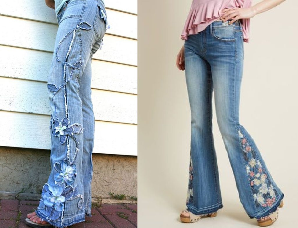 Вышивка на джинсах бохо