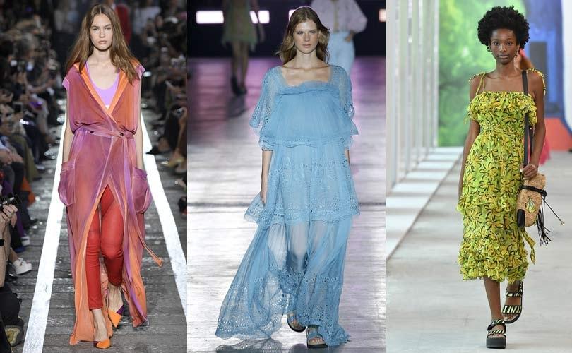 Летние платья в актуальных цветах.