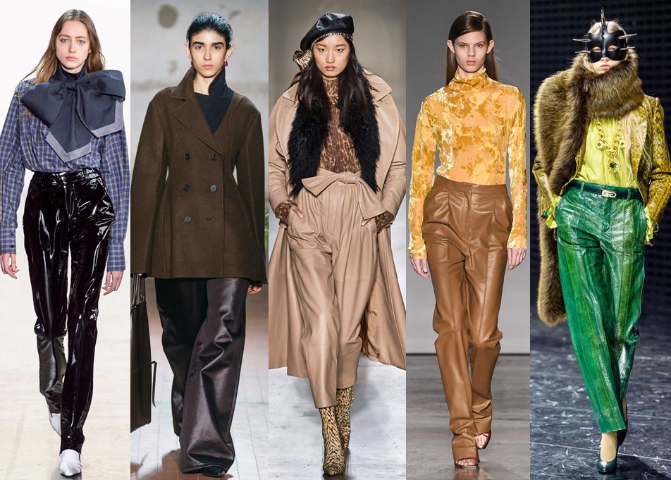 Кожаные брюки разных цветов.