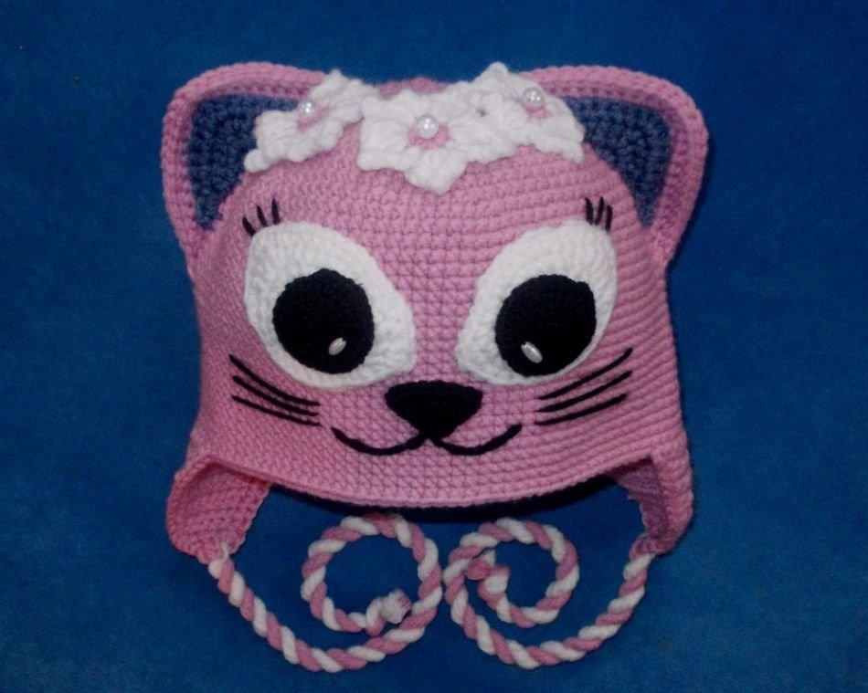 шапка кошки для девочки крючком
