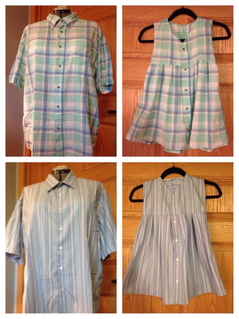 Два платья для ребенка, сделанные из разных мужских рубашек