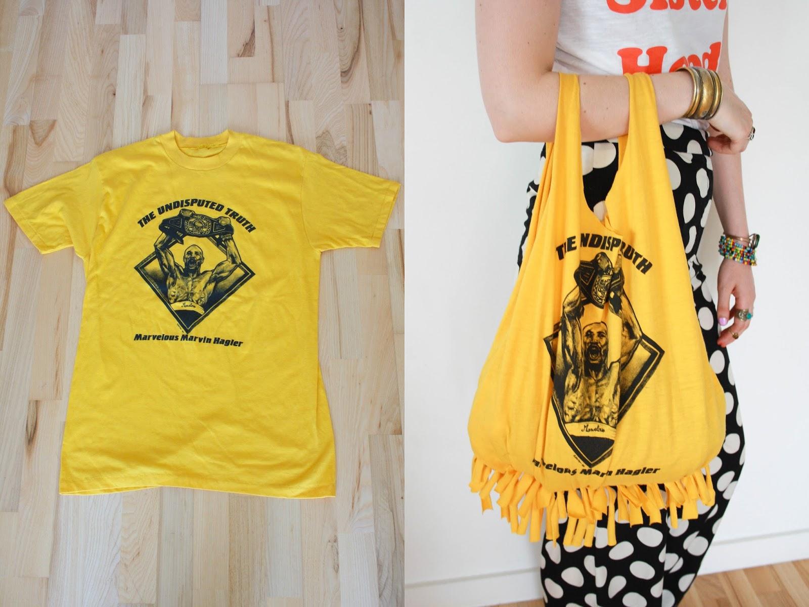Сумка из жёлтой футболки