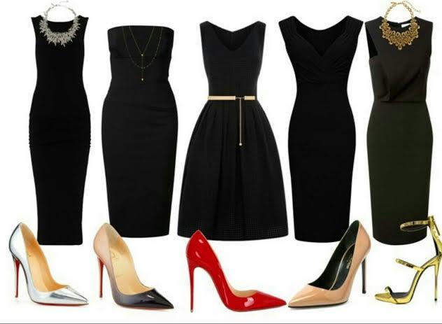 Примеры фасонов чёрных платьев.