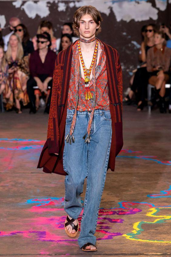 Хиппи образ мужской с джинсами.