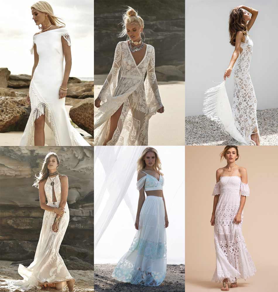 Примеры свадебных пляжных платьев бохо.