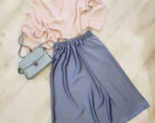 Атласная юбка миди и оверсайз свитер