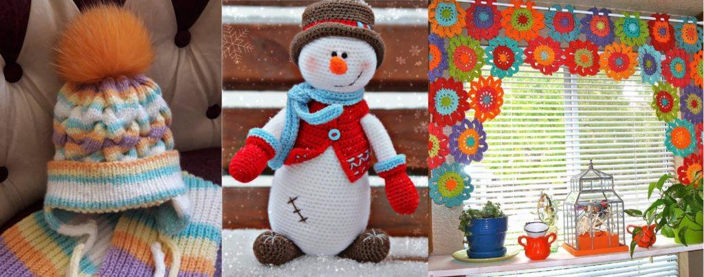 шапка, снеговик, занавеска вязаные