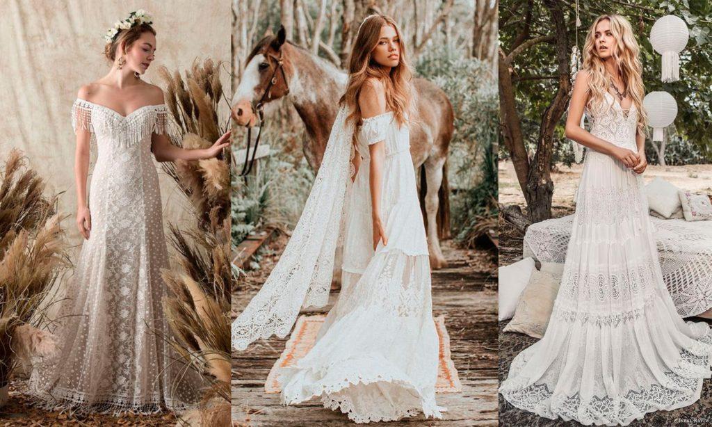 Примеры свадебных нарядов бохо.