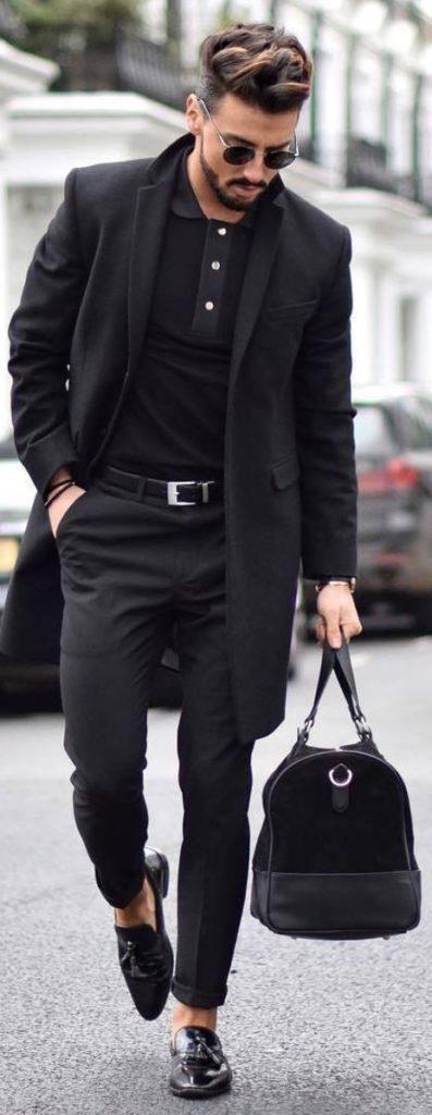 Мужской городской шик в чёрном цвете.