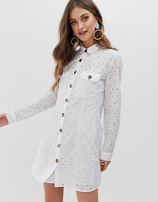 Платье-рубашка с вышивкой-ришелье