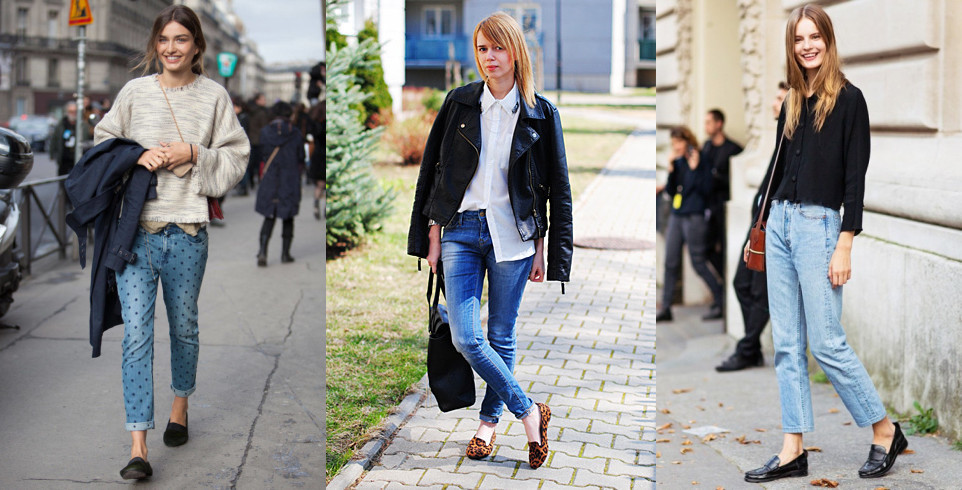 Образы с лоферами и джинсами