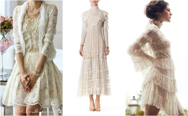 Кружевные платья.