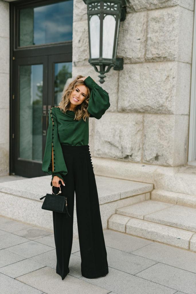 Образ с зелёной блузкой.