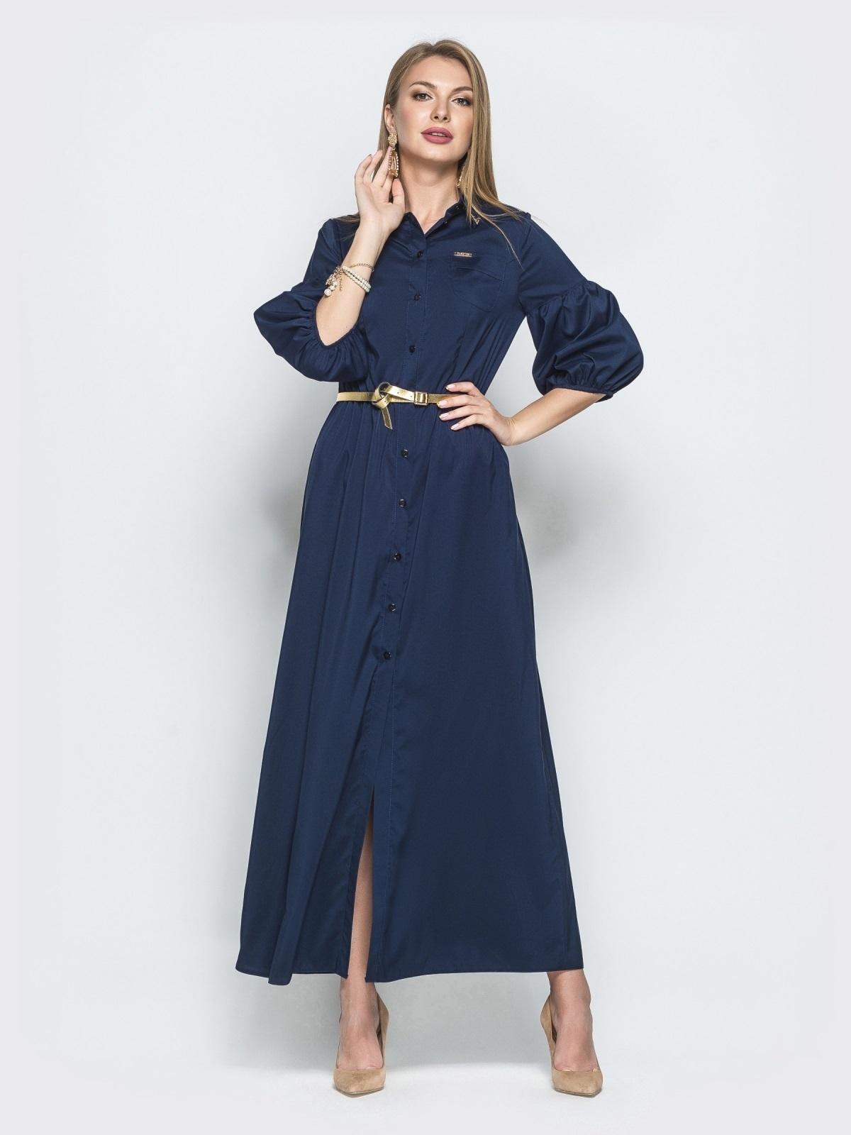 Платье-рубашка с пышными рукавами