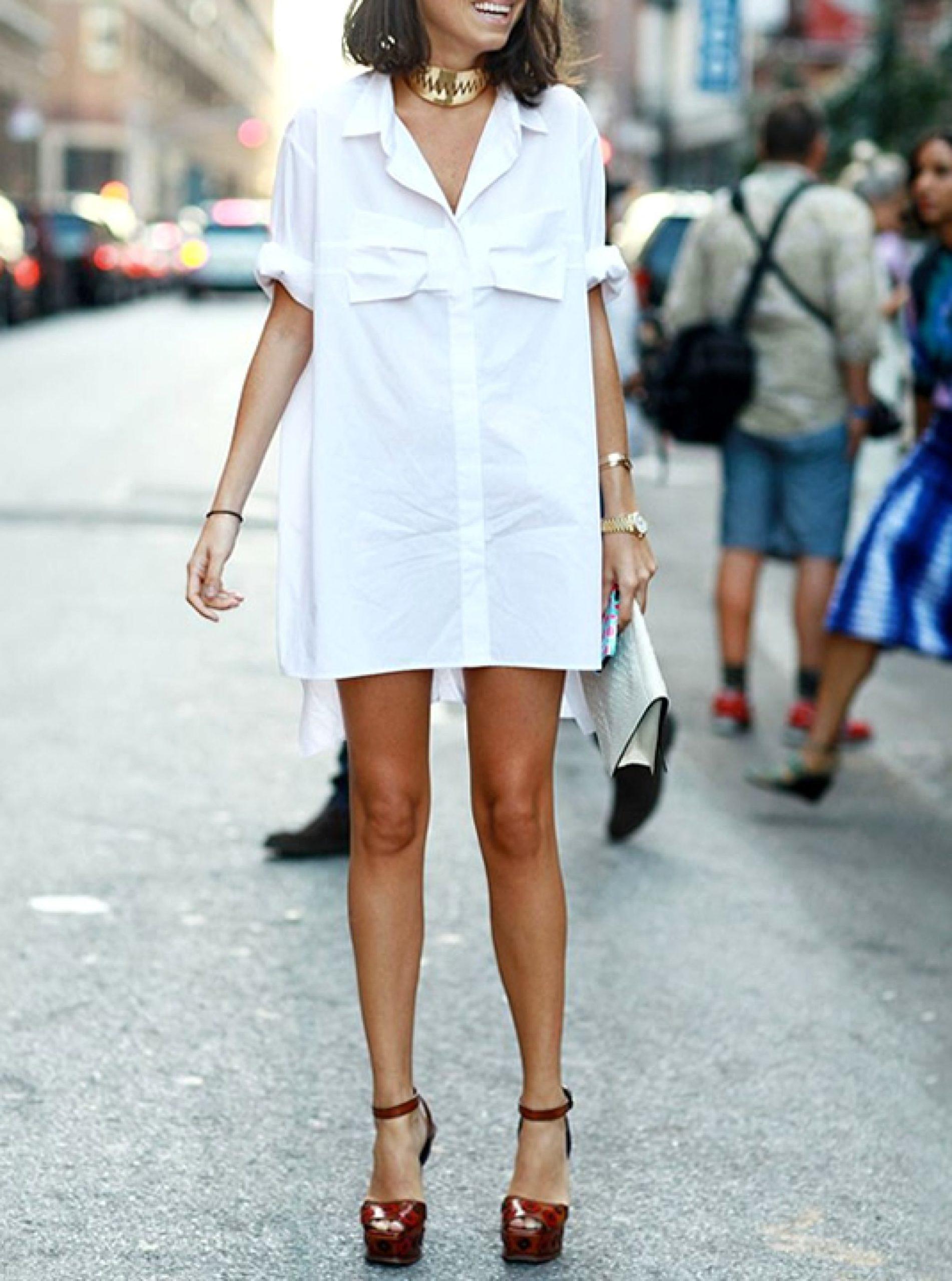 Расстёгнутое платье-рубашка