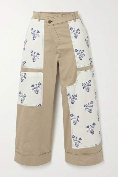 Свободные штаны с цветочными вставками
