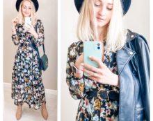 Девушка в чайном платье, шляпке и куртке
