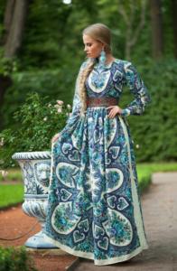 зеленое платье фолк