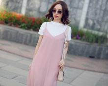 Платье-комбинация с футболкой