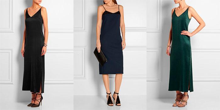 Платье-комбинация с туфлями и сандалиями