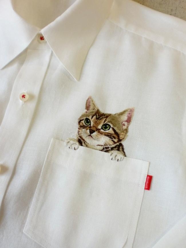 кот на рубашке