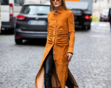Платье и кожаные штаны