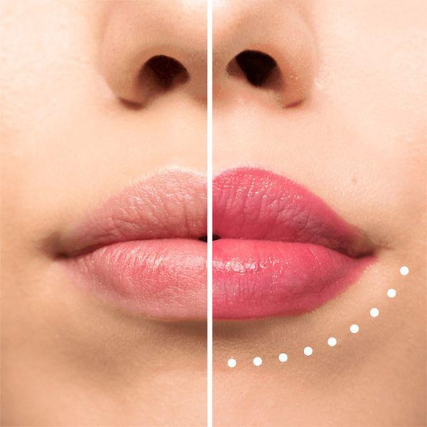 Эффект использования карандаша для губ.