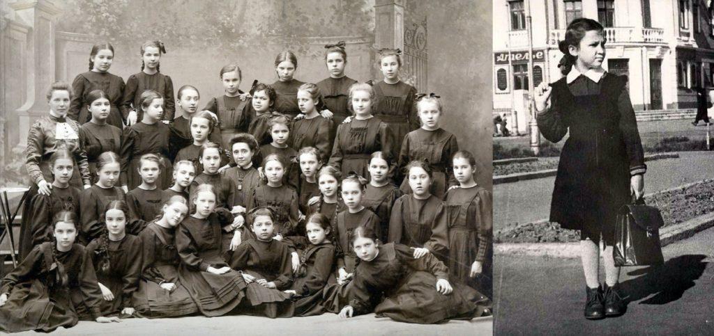 школьная форма девочек царской россии и СССР