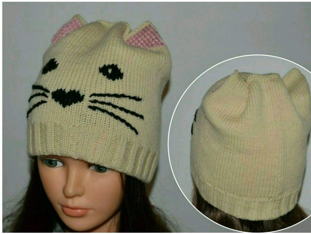 как связать шапочку котика на вязальной мельнице