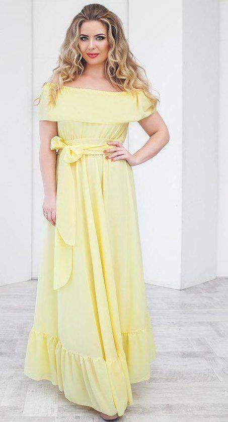 Платье лимонного цвета.