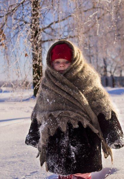 закутанные дети СССР зимой