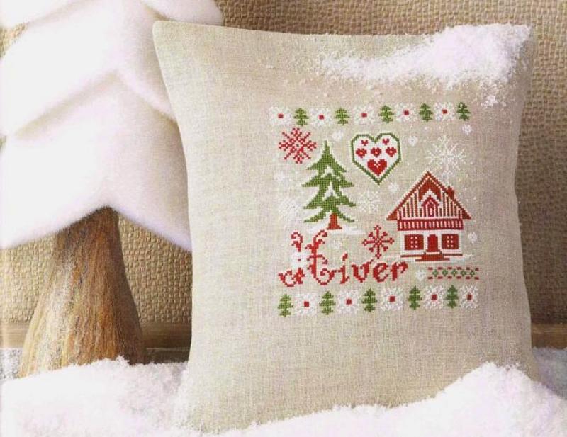 Новогодняя вышивка на подушках