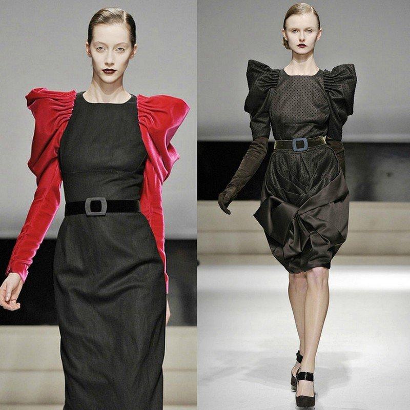 Платье с объёмными рукавами.