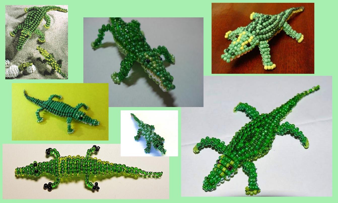 крокодилы из бисера